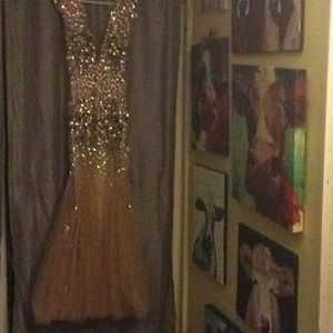 Gold formal dress with iridescent blings